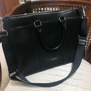 LIKE NEW Black Coach Crossgrain Leather Briefcase